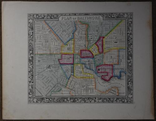 Hand Colored Engraved 1860 Map Plan of Baltimore Maryland S. Augustus Mitchell