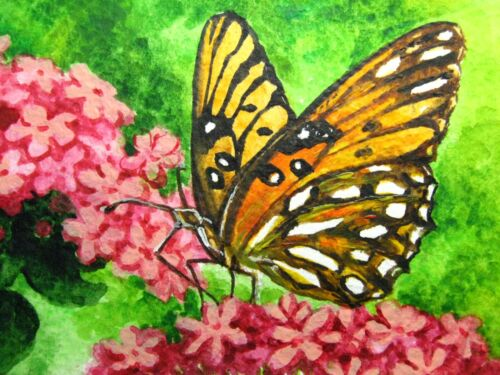 Painting Butterfly Insect Pink Flower Green Grass Nature ACEO Art