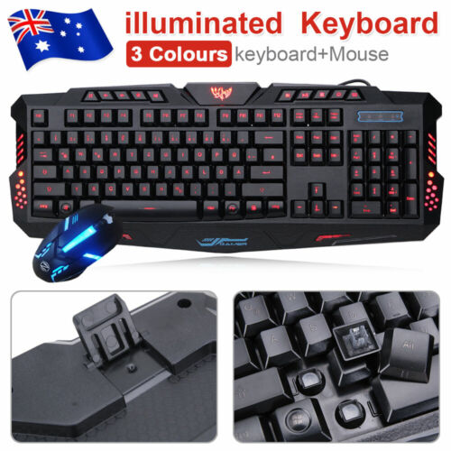 Gaming Keyboard And Mouse Set USB Rainbow 3 Color RGB LED For PC Laptop Xbox PS4