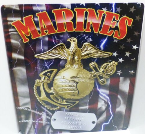 UNITED STATES MARINE  CORPS,  METAL SIGN, WITH GLOBE AND ANCHOR AND DOG TAGSMarine Corps - 66531