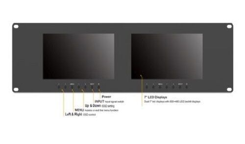 """LILLIPUT RM-7024 7"""" 3RU Rack Monitors With dual VGA & Video in/outputs metalcase"""