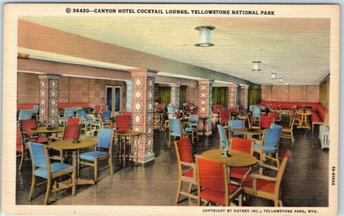 "1940s Yellowstone National Park Postcard ""CANYON HOTEL COCKTAIL LOUNGE"" Linen"