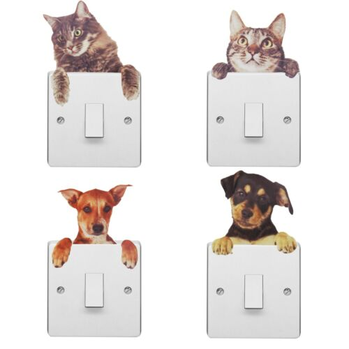 Walplus Light Switch Pet Sticker with Dog and Cat Wall Stickers, Decals, DIY Art