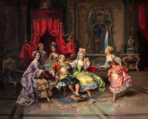 French King Louis XV and Queen Oil painting Giclee art Printed on canvas L795