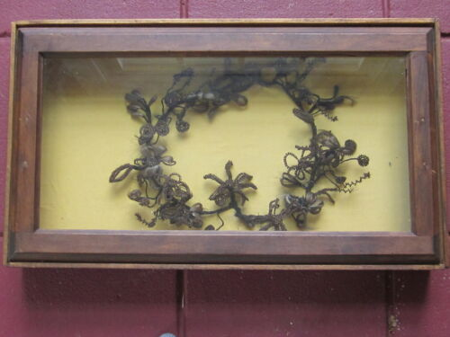 Antique Victorian Mourning Human Hair Wreath