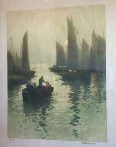 Antique Fernand Le Gout-Gerard Aquatint French Harbor & Art Nouveau Gilt Frame