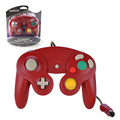 Nintendo GameCube RED Rumble Controller Pad Teknogame New (Wii Wired Gamepad)