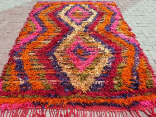 "Vintage Turkish Shaggy Rug Long Hair Wool Carpet Colorfull Kilim Rug 69,2""X96,8"""