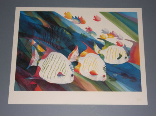1991 JEANNE NASH FISHES PRINT PENCIL S/N 205/210