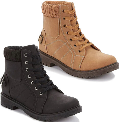 Ladies Fur Ankle Lace Up Winter Boots Womens Grip Sole Hiking Combat Shoes Size