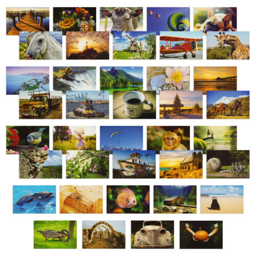 40x Assorted Postcards, Postcards Variety Pack, 40 Unique Designs, 4 x 6 Inches