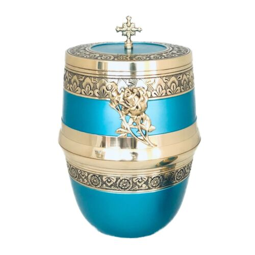 Well Lived® Aqua Blue Brass Adult Cremation Urn for human ashes