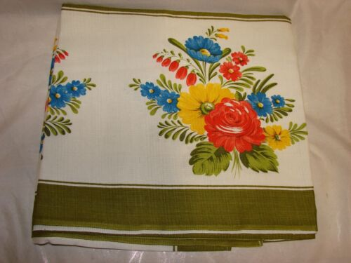 Vintage NEW 1970s Supper Cloth Tablecloth 127x178cm, Vivid Retro Olive & Florals