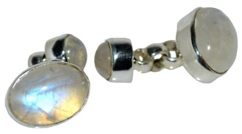 Mystic Moonstone Cufflinks Double sided, 925 Sterling SILVER chain Natural Gems