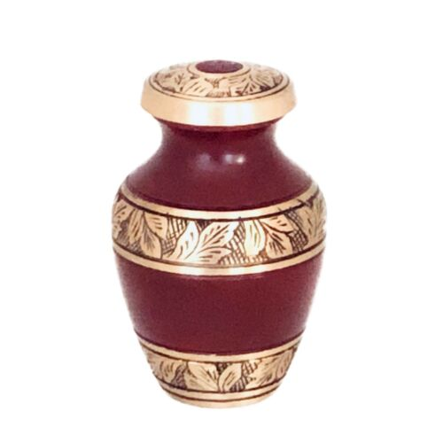 Well Lived™ Red and Brass Small Keepsake Cremation Urn for human ashes