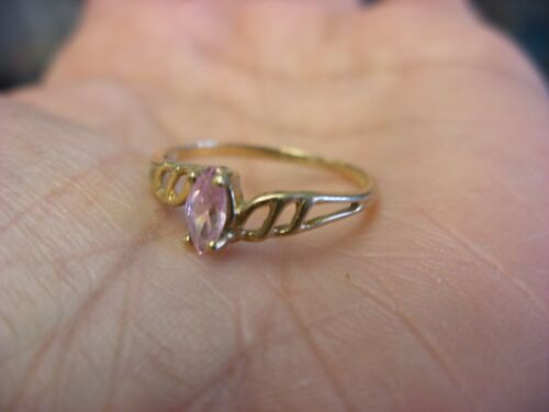 Vintage 10K Gold Pink Stone Ring Size 7 1.09g #300