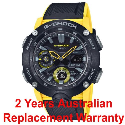 CASIO G-SHOCK CARBON CORE GUARD GA2000-1A9 GA-2000-1A9DR BLACK YELLOW MEN WATCH