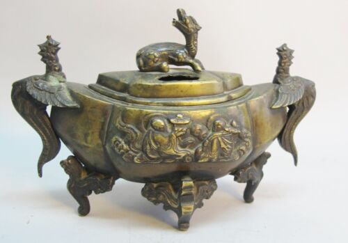 Very Fine Chinese QING DYNASTY Bronze Censor Incense Burner  c. 1890  sculpture