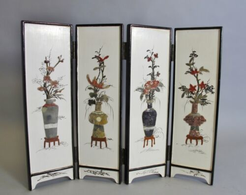 "Fine 14"" Tall ANTIQUE CHINESE Screen w/ Inset Hardstone Flowers  c. 1930 +"