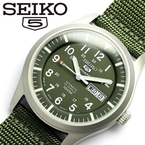 SEIKO 5 SPORTS AUTOMATIC SNZG09J1 GREEN, NYLON BAND JAPAN MADE SNZG09 MEN WATCH