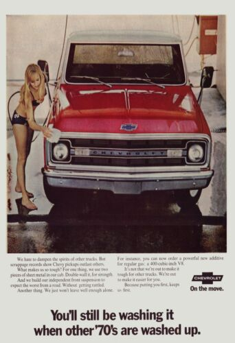 1970 Chevrolet pickup truck wash ad 24X36 inch poster, sports car, classic