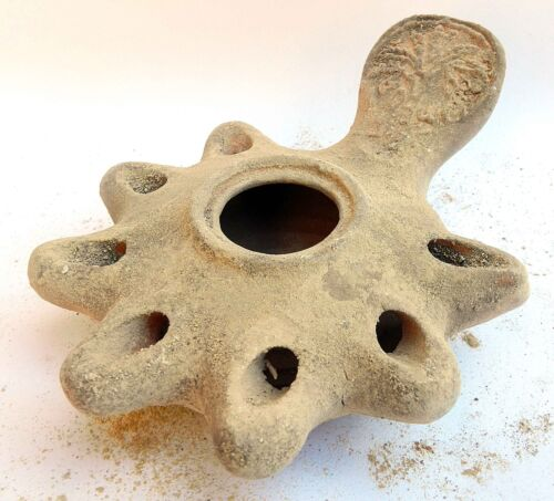 Biblical Oil lamp Holy Land Antique Roman Clay Pottery terracotta 7 Nozzles