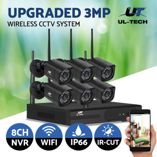 UL-tech CCTV Wireless Security System Home Camera Kit Outdoor IP WIFI 1080P 8CH