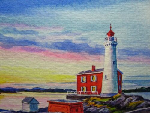 Watercolor Painting Ocean Lighthouse Beautiful Seascape Nature ACEO Art