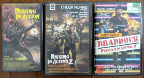 MISSING IN ACTION 1, 2 & 3 VHS PAL Videos Chuck Norris