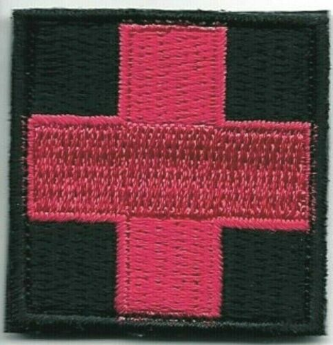 """1 1/2"""" Red on Black Medic Red Cross Paramedic Patch VELCRO® BRAND Hook Side OnlyArmy - 48824"""