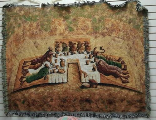 Okaybabs Lord's Last Supper Tapestry Throw/Afghan/African American Art