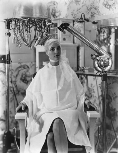 1930s Women Beauty salon  white porcelain chair drying hair  8 x 10  Photograph