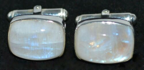 Natural White Moonstone Cuff links 2 Mystic Gemstone Mens 925 SILVER Gents Gifts