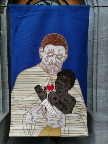 Huge Vintage Modernistic Religious Church Art Woven Tapestry  Father Damiaan