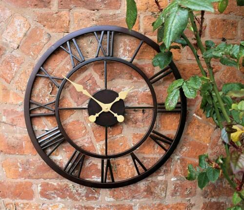 50cm Black Roman Numeral Indoor/Outdoor Clock Modern Metal Skeleton Face Time