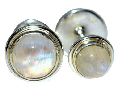 Mystic Moonstone Mens Cufflinks, Double Sided 4 Stone Gents Sterling SILVER NEW
