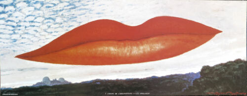 Man Ray LIPS Observatory Time The Lovers Offset Litho 9-1/4 x 24