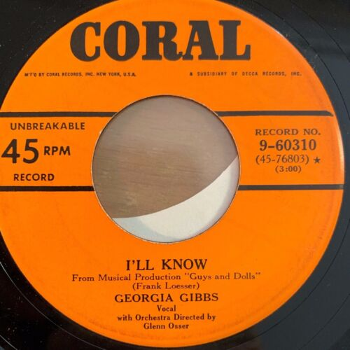 """Georgia Gibbs - I'll Know // 7"""" - 1. US-Pressing 1956 - TOP condition"""