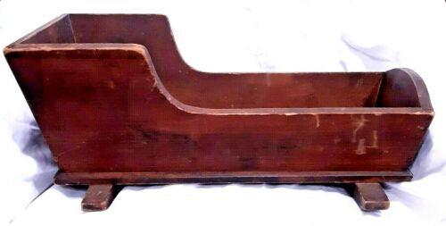 ANTIQUE AAFA HANDCRAFTED PRIMITIVE WOOD WOODEN NEWBORN BABY OR DOLL CRADLE