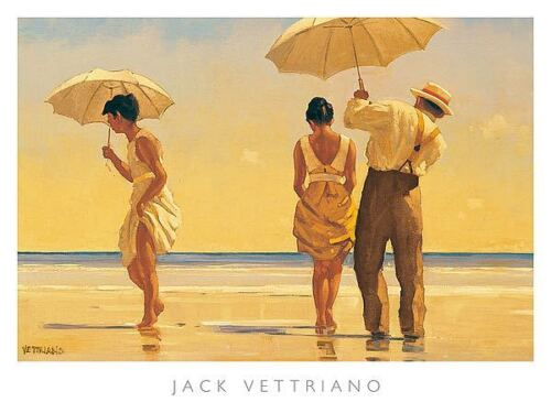 Mad Dogs by Jack Vettriano Art Print Poster Romantic Couple Beach 31.5x23.5