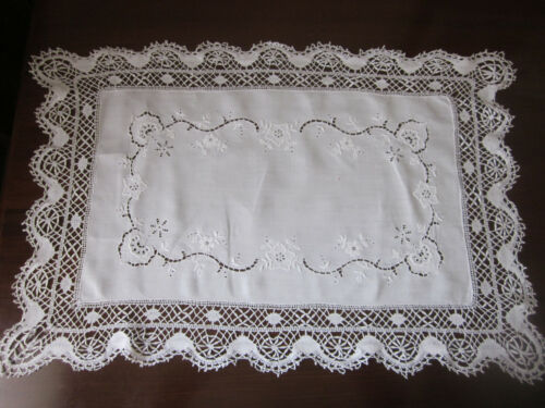 LARGE RECTANGULAR HAND WORKED BOBBIN LACE AND WHITEWORK EMBROIDERY TABLE CENTRE