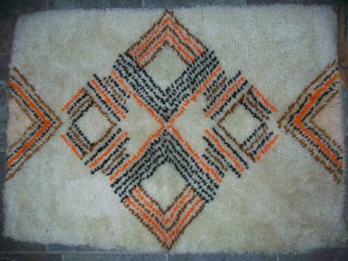 HANDCRAFTED HAND MADE LATCH HOOKED THROW RUG SCATTER AREA ACCENT OR WALL HANGING
