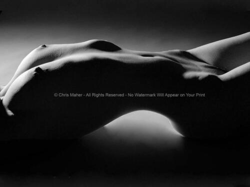 0051-JC BW Fine Art Nude Fit Woman Model Arched Back Studio Work Signed Maher