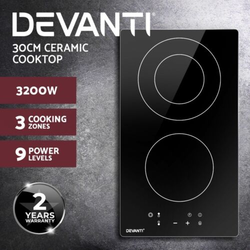 Devanti Electric Ceramic Cooktop 30cm Kitchen Cooker Cook Top Hob Touch Control <br/> ✔9 Power Adjustments ✔Touch Control ✔2-YR Warranty