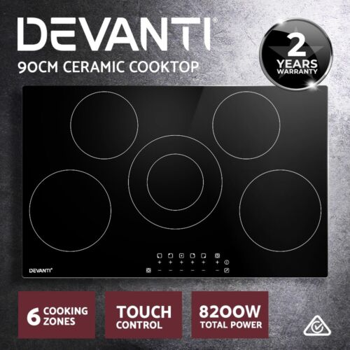 Devanti 90cm Ceramic Cooktop Electric Cook Top 5 Burner Stove Touch Control <br/> 9 Power Adjustments! Touch Control! 2-YR Warranty!