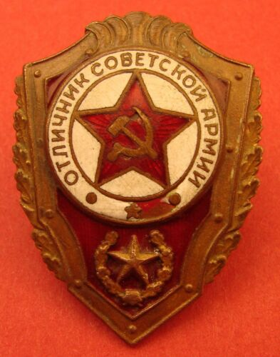 Soviet Military EXCELLENT ARMY SOLDIER Badge TYPE 1SCREW BACK 1950s Brass&EnamelMedals, Pins & Ribbons - 104024