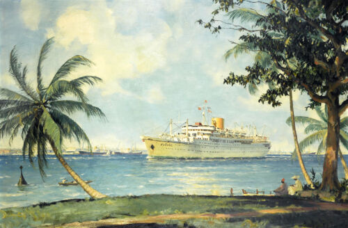 Luxury White cruise ship Oil painting Giclee Art HD printed on canvas L1337