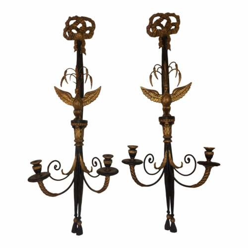 Pair of Antique Hollywood Regency Federal Style Candelabra Sconces