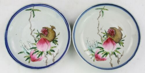 PAIR CHINESE FAMILLE ROSE PORCELAIN SAUCERS
