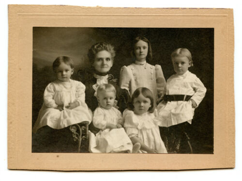 Real Photo-on Card-Mother or Grandmother w/ Five Children-1880's-Fine Quality